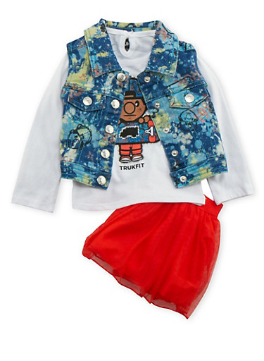 Baby Girl Trukfit Denim Vest and Top with Tutu Set,RED,large