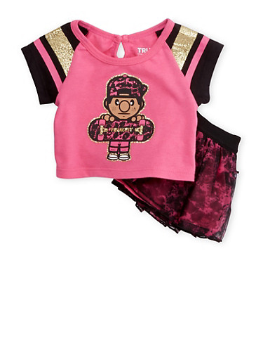 Baby Girl Trukfit Graphic Tee and Tutu Set,FUCHSIA,large