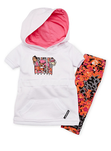 Baby Girl Trukfit Hooded Graphic Dress and Leggings with Floral Print,BLACK,large
