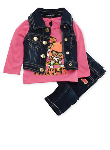 Baby Girl Trukfit Denim Vest and Graphic Top with Jeans Set,FUCHSIA,large
