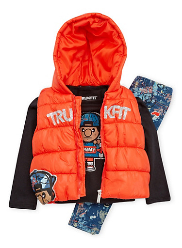 Baby Girl Trukfit Graphic Top and Jeans with Puffer Vest,ORANGE,large
