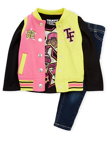 Baby Girl Trukfit Varsity Vest with Jeans and Top,BLACK,large