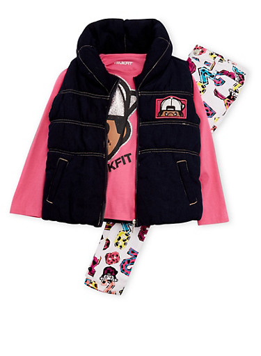 Baby Girl Trukfit Vest and Top with Printed Jeans Set,FUCHSIA,large