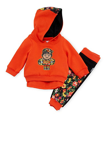 Baby Girl Trukfit Graphic T-Shirt with Hoodie and Joggers Set,ORANGE,large