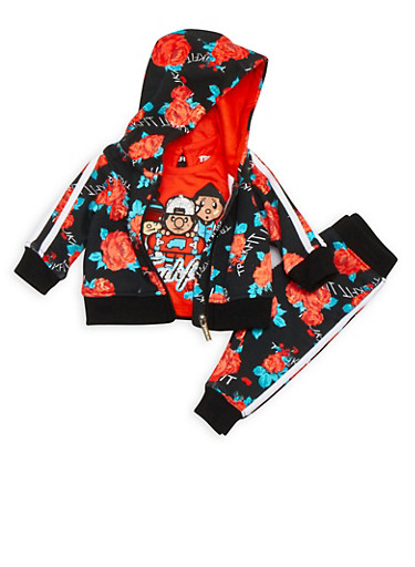 Baby Girl Trukfit Graphic T-Shirt with Floral Sweatsuit Set,ORANGE,large