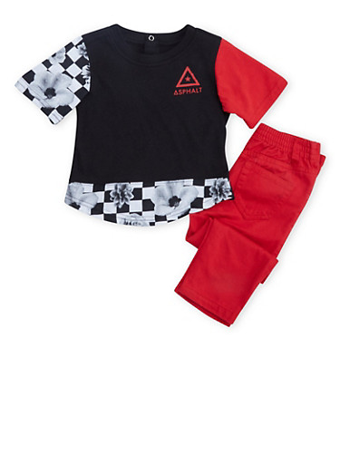Baby Boys Asphalt Graphic Tee and Denim Pants Set,RED,large
