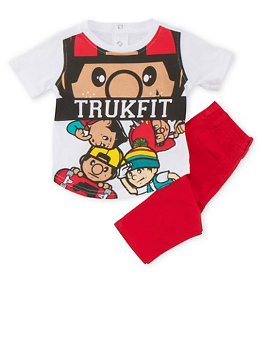 Baby Boy Trukfit Graphic Tee and Jeans Set,RED,large