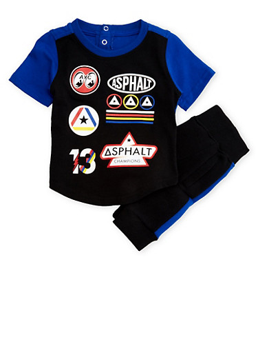 Baby Boys Asphalt Color Block Patch Tee with Matching Joggers Set,BLUE,large