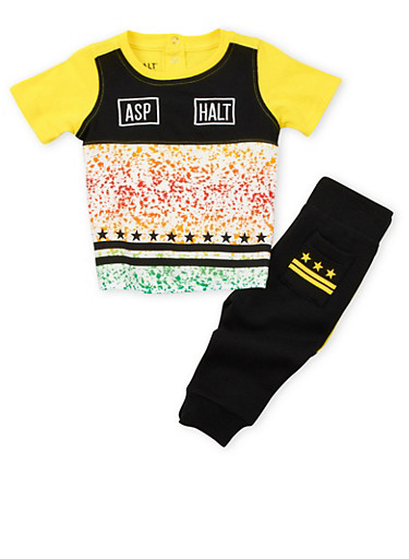 Baby Boys Asphalt Paint Splattered T-Shirt and Joggers Set,YELLOW,large