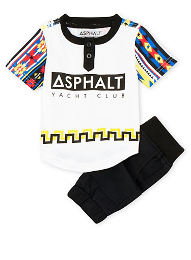 Baby Boy Printed Tee and Joggers Set,BLACK,large