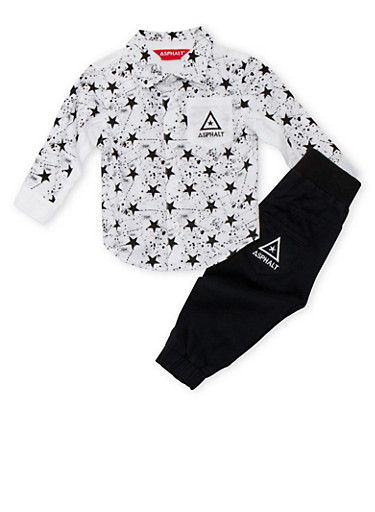 Baby Boy Asphalt Button-Up and Joggers Set,BLACK,large