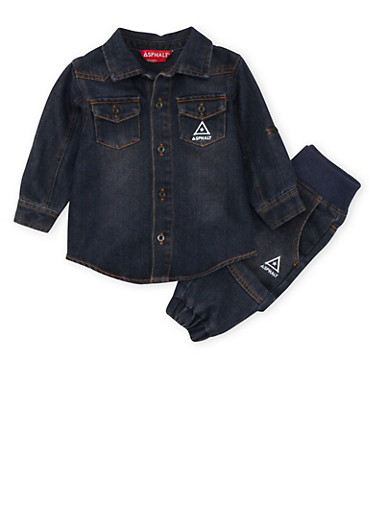 Baby Boy Asphalt Denim Shirt and Joggers Set,INDIGO,large