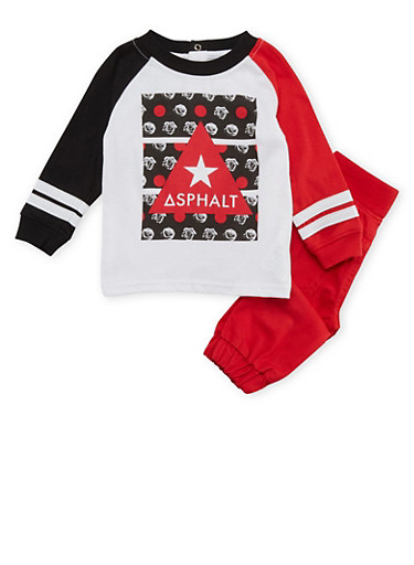 Baby Boy Asphalt Shirt and Joggers Set,RED,large