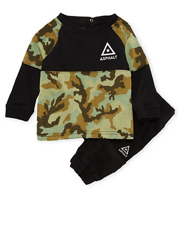 Baby Boy Asphalt Top and Twill Joggers Set in Camo Print,BLACK,large