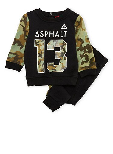 Baby Boys Asphalt Fleece Pullover and Joggers with Camo Print,BLACK,large