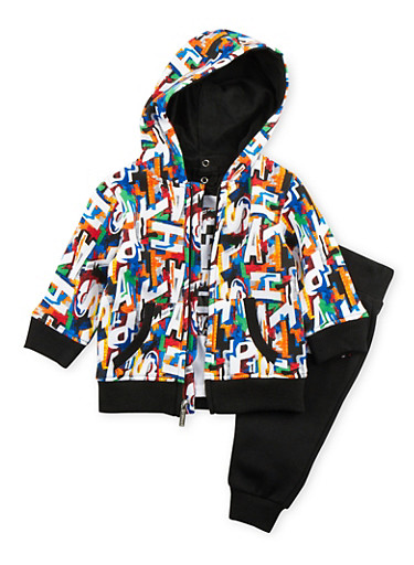 Baby Boy Asphalt Hoodie and Graphic Tee with Joggers Set,BLACK,large