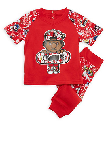 Baby Boy Printed Trukfit Tee and Joggers Set with Graphic,RED,large