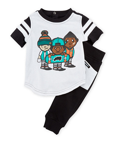 Baby Boy Trukfit T-Shirt and Joggers Set,BLACK,large