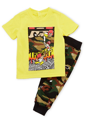 Baby Boy Trukfit Graphic Tee with Camo Joggers Set,YELLOW,large