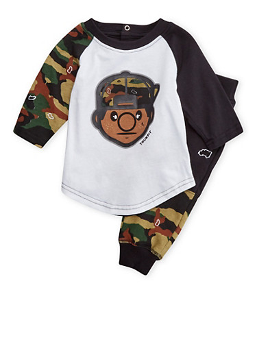 Baby Boy Trukfit Graphic Top and Knit Joggers with Camo Print,BLACK,large