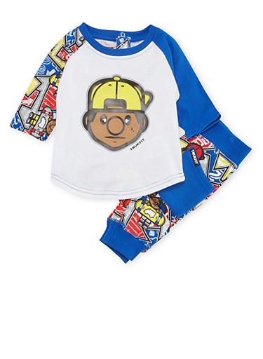 Baby Boy Trukfit Raglan Shirt and Joggers Set,ROYAL,large