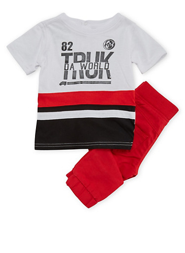 Baby Boy Trukfit Graphic Tee and Moto Joggers Set,RED,large