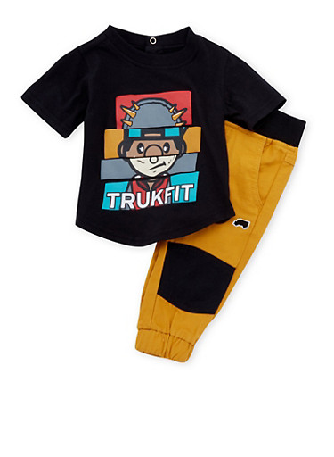 Baby Boy Trukfit T-Shirt and Joggers Set,MUSTARD,large