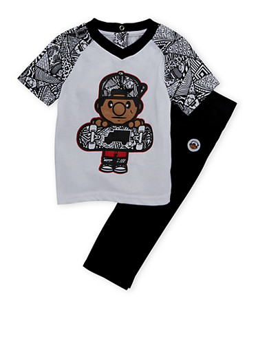 Baby Boy Trukfit Printed Tee and Jeans Set with Graphic,BLACK,large