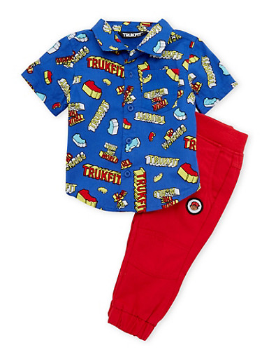Baby Boy Trukfit Button-Up and Joggers Set,RED,large