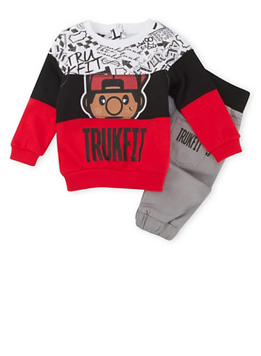Baby Boy Trukfit Graphic Top and Joggers Set,CHARCOAL,large