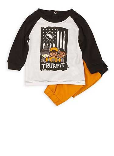Baby Boy Trukfit T-Shirt and Pants Set,MUSTARD,large