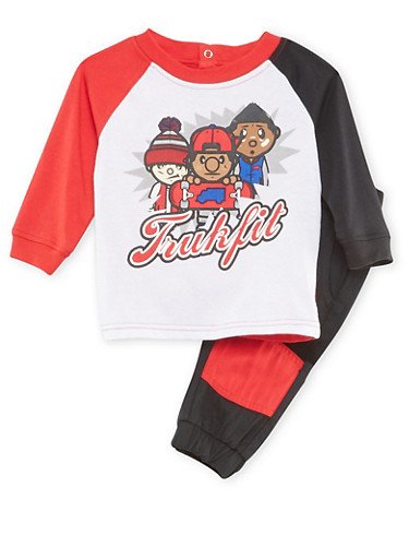 Baby Boy Trukfit Color Block Top and Twill Joggers Set with Graphic,BLACK,large