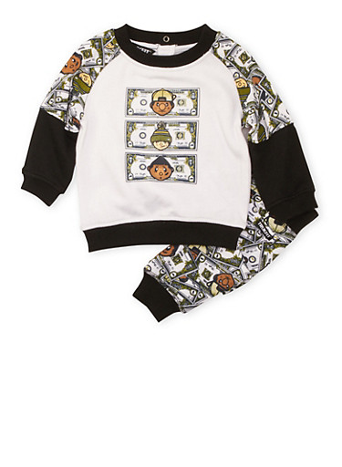 Baby Boy Trukfit Knit Top and Joggers Set in Money Print,BLACK,large