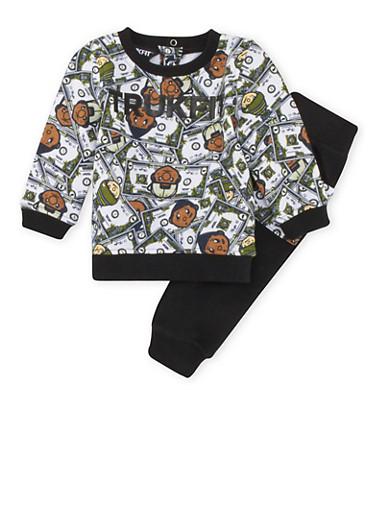 Baby Boy Trukfit Money Print Sweatshirt and Sweatpants Set,BLACK,large
