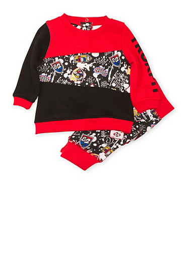 Baby Boy Trukfit Printed Sweatshirt and Joggers Set,BLACK,large
