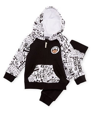 Baby Boy Trukfit Graphic Zip-Up Hoodie and Joggers with Sk8 Gr8 Print,BLACK,large