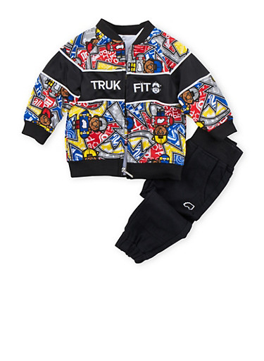 Baby Boy Trukfit Printed Jacket and Graphic Tee with Joggers Set,BLACK,large
