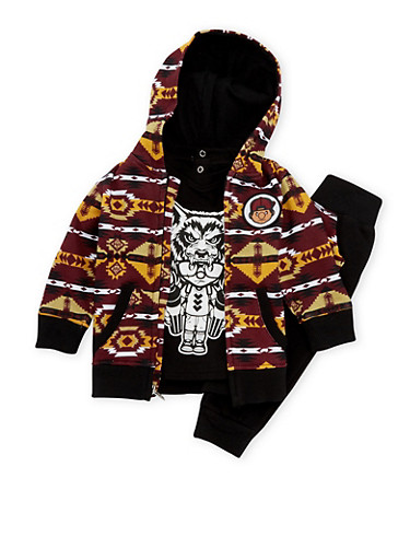 Baby Boy Trukfit Printed Hoodie and Graphic Tee with Joggers Set,BLACK,large