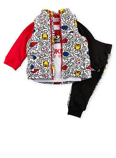 Baby Boy Trukfit Printed Vest and Graphic Tee with Joggers Set,BLACK,large