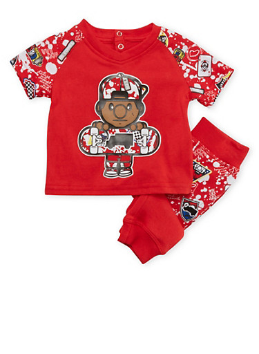 Baby Boys Trukfit T-Shirt and Joggers Set,RED,large