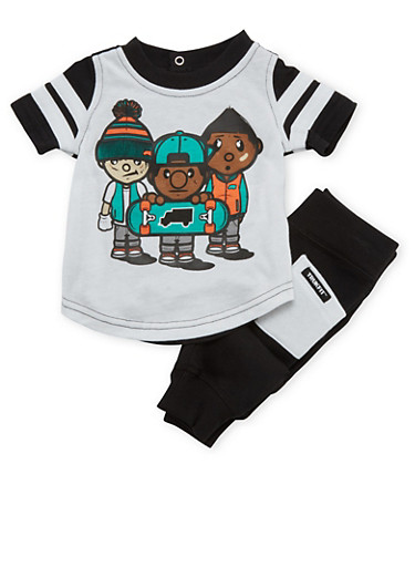 Baby Boy Trukfit Graphic Tee with Joggers Set,BLACK,large