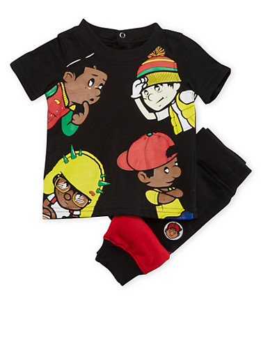 Baby Boy Trukfit Graphic Tee and Joggers Set,BLACK,large