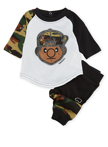 Baby Boy Trukfit Camo Graphic Tee with Matching Joggers Set,BLACK,large