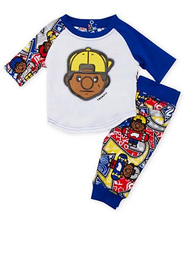 Baby Boy Trukfit T-Shirt and Joggers Set,ROYAL,large