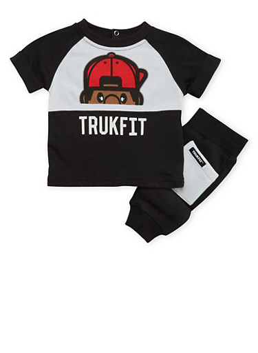 Baby Boy Trukfit Color Block Print Tee and Joggers with Lil Tommy Graphic,BLACK,large
