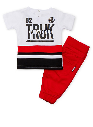 Baby Boy Trukfit Graphic Tee and Joggers Set,RED,large