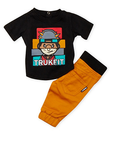 Baby Boy Trukfit Graphic Tee and Moto Joggers Set,MUSTARD,large