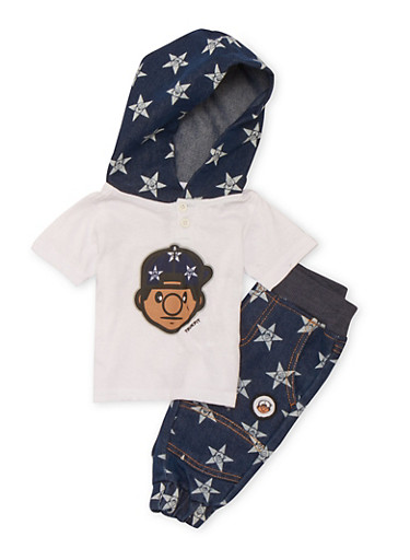 Baby Boy Trukfit Hooded Tee and Printed Joggers Set,INDIGO,large