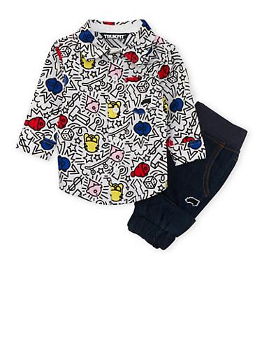 Baby Boy Trukfit Printed Shirt and Denim Joggers Set,INDIGO,large