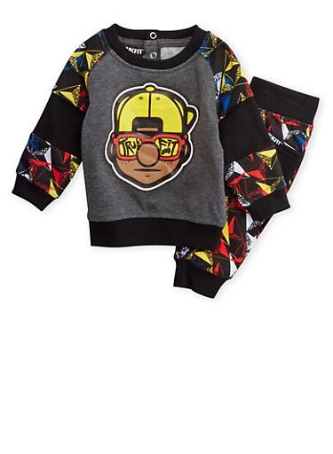 Baby Boy Trukfit Graphic Sweatshirt with Jogger Set,BLACK,large